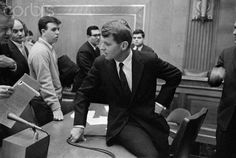 Robert Kennedy, brother of the President-elect, was congratulated by Senator John McClellan, (D-Ark.), after his nomination to be Attorney General was approved by the Senate Judiciary Committee. Senator McClellan and Bob Kennedy worked together as Chairman and Chief Counsel of the old Senate Rackets Committee.13 January 1961