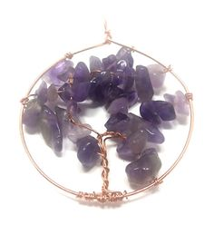 Amethyst and Copper Tree of Life pendant by RemedyRocks on Etsy