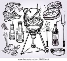 BBQ Party Set. Poster vintage linear style. Isolated vector illustration. Hand drawn elements. Fish, Meat, Sauces, Pizza, Hot-dog, Soda, Utensils, Grill. Menu template for restaurant, bar, pub.