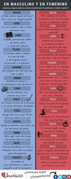 A list of words that change completely in meaning, masculine and feminine. Expand your vocabulary and practice your Spanish with us! Free Spanish Lessons, Learn To Speak Spanish, Learn Spanish Online, Spanish Teaching Resources, Spanish Lesson Plans, Spanish Grammar, Spanish Vocabulary, Spanish Words, Spanish Language Learning