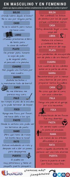 Un listado de palabras que cambian completamente de significado, en masculino y en femenino. ¡Amplía tu vocabulario y practica tu español con nosotros!