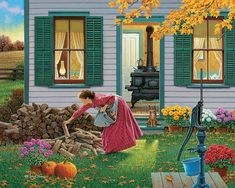 Puzzle Autumn in the country. Jigsaw puzzles, puzzle games for kids. Play free jigsaw puzzle Autumn in the country. Pretty Pictures, Art Pictures, Farm Art, Cottage Art, Country Scenes, Country Art, Country Life, Farm Life, Beautiful Paintings