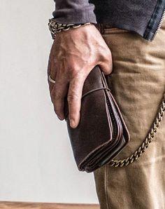 Handmade vintage long wallet leather men phone zip clutch vintage wallet for men