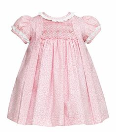 Anavini Baby / Toddler Girls Pink Floral Smocked Amelia Float Dress with Ruffle Collar