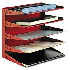 Soho Horizontal Organizer, Letter, Five Tier, Steel, Red - Snap Supplies