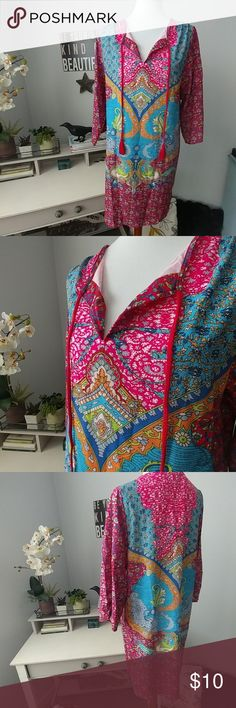 Bright Bohemian tunic or cover-up. This tunic/cover-up is is very colorful and bright! Asian sizing XL but fits like a M. Very thin material, but not see through. Feitong Tops Tunics