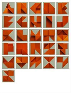 Alphabet Relief: by Tim Fishlock (alphabet folded by hand and then photographed!)
