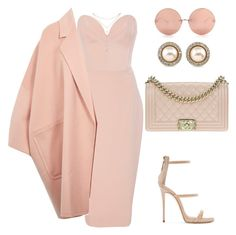 Untitled #574 by amoney-1 on Polyvore featuring polyvore fashion style Christian Siriano Helmut Lang Giuseppe Zanotti Chanel Carolee GUESS by Marciano Linda Farrow clothing