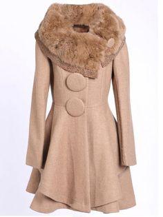 Elegant Wide Lapel Long Sleeve Women's Woolen Coat Plus Size Clothing on buytrends.com