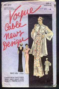 Vogue 6717 | 1930s Ladies' Evening Gown and Coat, Vogue Cable News Design