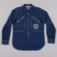 Junya Watanabe Man Heavy Denim Patchwork Shirt - Indigo