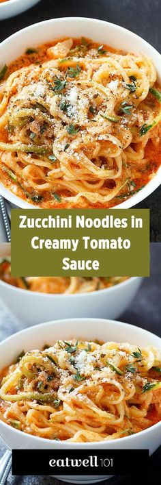 Try these zucchini noodles for a low carb comfort dinner that will be on your table in less than 20 minutes! Zucchini is quickly infused in a creamy tomato sauce flavored with onion and garlic. A g… (Zucchini Noodle Recipes) Zoodle Recipes, Spiralizer Recipes, Vegetable Recipes, Vegetarian Recipes, Zucchini Noodle Recipes, Zucchini Pasta Recipes, Vegetarian Breakfast, Recipe For Spiralized Zucchini, Zoodles Recipe Low Carb