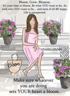 Bloom. Grow. Blossom. Art for Women by RoseHillDesignStudio