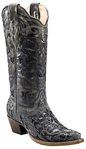 Corral® Ladies Black with Black Caiman Inlay Snip Toe Western Boots