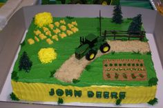 John Deere Two layer half-sheet yellow cake with Buttercream icing and chocolate candy mold letters. First cake I ever decorated. Tractor Birthday Cakes, Drake's Birthday, Birthday Sheet Cakes, Tractor Cakes, Birthday Ideas, Unicorn Birthday, Little Boy Cakes, Cakes For Boys, Deer Cakes