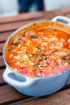 Kycklinggryta med tomat o feta Banting Recipes, Raw Food Recipes, Healthy Dinner Recipes, Chicken Recipes, I Love Food, Good Food, Yummy Food, Food In French, Feta