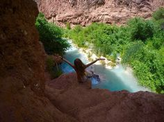 """Havasu Falls in Arizona is paradise on Earth. It is an incredible waterfall located in the Grand Canyon, Arizona. Even though it's not easy to hike there, this place is definitely worth a visit. Havasu Falls is part of the Havasupai American Indian Reservation.Havasupai means """"people of the blue-"""