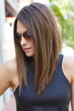 20 Best Angled Haircuts: #1. Angled Brown Straight Haircut; #hairstyle