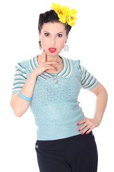 Gloria 40s retro Rockabilly Streifen Jumper Strick Shirt