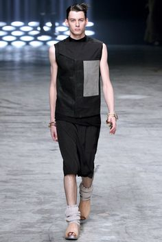 I think the styling for this outfit is impeccable. I'm loving how Rick Owens has brought fashionable clogs to the male market. #SS2013 #PFW