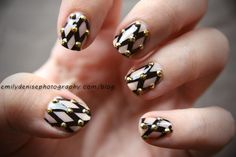 Black and Nude Mesh Patterned Studded Nails