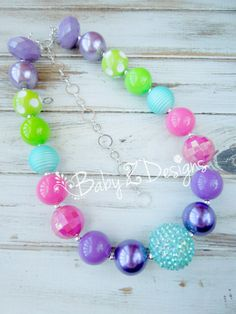 Pink Purple Green Lavender and Turquoise Chunky Necklace by babyzdesigns, $19.99 M2M Jelly the Pug