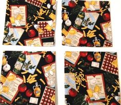 Cloth Dinner Napkins NEW MACARONI PRODUCT RECIPE WINE Theme Set of 4 100% Cotton #Unbranded
