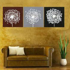 peinture murale salon cheminée : dandilion decorations | peinture moderne de pissenlit de conception simple pour la décoration ...