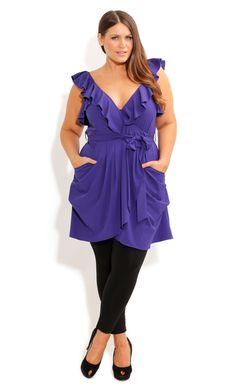 45d839ec5b0 City Chic - RUFFLE WRAP TUNIC - Women s plus size fashion Curvy Girl  Fashion