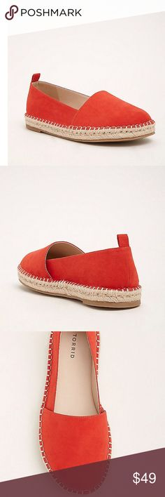 30% off Bundles 😎 Slip On Espadrille Flats WW 9 The actual color is black. I could only find red. But I will post a picture of the shoes soon. But they are so cute. Size 9 WW. These espadrilles will inspire you. Black faux suede details, rounded toe, slip on style, lending a luxe edge to the bound for vacay espadrilles outer sole. True wide width so you never have to size up again. torrid Shoes Espadrilles