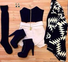 jewelry shorts shoes white jacket black and white boots socks high knee socks necklace black earrings blouse