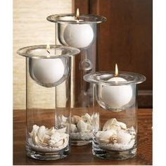 16 Glass cylinder 3-tier candle sets w/shells, sand