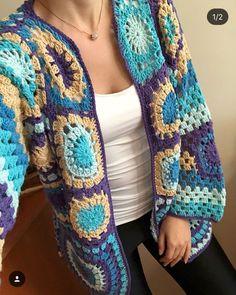 Crochet Coat, Crochet Jacket, Crochet Cardigan, Crochet Granny, Crochet Clothes, Crochet Stitches, Free Knitting, Knitting Patterns, Crochet Patterns