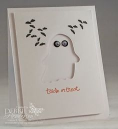 Control Freaks September Blog Hop. I used the ghost from the Fun Fall Framelits Dies, Stampin' Up! on all three cards. Debbie Henderson, Debbie's Designs.