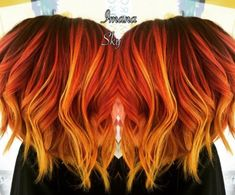 Purple roots to red orange and neon yellow flame /sunset Balayage hair - Hair! Red Orange Hair, Yellow Hair, Red Hair Color, Neon Yellow, Red Hair Orange Highlights, Purple Hair, Color Highlights, Color Red, Orange Style