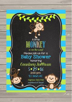 Monkey Baby Shower Invitation Digital or printable by noteablechic