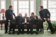 A groom and his groomsmen on the wedding day at Brierwood Country Club in Buffalo, NY