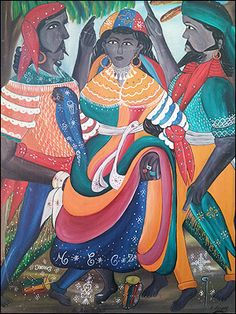 Erzulie Fréda with 2 Husbands by Haitian master Andre Pierre Erzulie Freda, Vision Art, Haitian Art, Caribbean Art, Afro Art, African Diaspora, Outsider Art, Black Art, Traditional Art