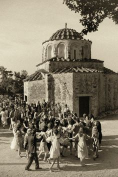 Old Photograph of Villagers dancing- It still goes on today in all the traditional villages in Corfu.