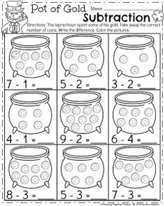 Kindergarten Math Worksheets - Pot of Gold Subtraction Don't miss this great set of March Kindergarten Worksheets for your math and literacy practice this month. Kindergarten Math Worksheets, School Worksheets, Kindergarten Classroom, Teaching Math, Subtraction Kindergarten, Teaching Geography, Number Worksheets, Alphabet Worksheets, Classroom Ideas