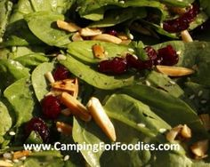 Thanksgiving Camp Meal Cranberry and Toasted Almond Spinach Salad with Camping for Foodies