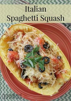 Italian Baked Spaghetti Squash Recipe - Have you tried using spaghetti squash in place of noodles to create a healthy low-carb meal? Gather your favorite Italian toppings to bake this tasty recipe for dinner!