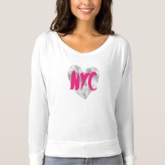 Pink and Silver, Heart, NYC, New York T-shirt