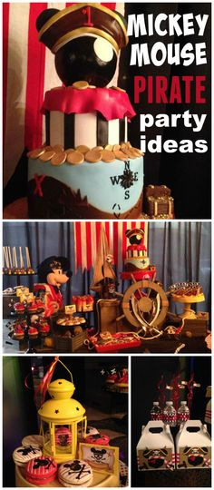 A Mickey Mouse pirate themed boy birthday party with amazing decorations and treats! See more party planning ideas at CatchMyParty.com!
