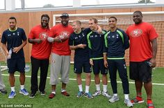 All smiles: and Spurs players including Lewis Holtby and Christian Eriksen pose for a photo Tottenham Hotspur Fc, Community Events, All Smiles, San Francisco 49ers, Hold On, Nfl, Christian, Poses, Game