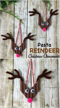 Pasta Reindeer Christmas Ornaments. Such a cute and easy kid made christmas decoration idea! #christmasdecoration #christmascrafts #kidscraft #christmasornaments