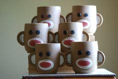 Sock Monkey Ceramic Cup by sundancepotteryshop on Etsy, $22.00
