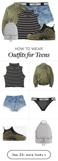 """""""Untitled #478"""" by cookiesncreamluv on Polyvore featuring Moschino, adidas Originals, MICHAEL Michael Kors and NIKE"""