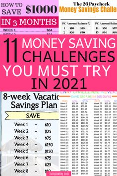 11 money-saving challenges you must try today to jumpstart your savings. These easy saving challenges will save you hundreds in the next few weeks alone. If you are wanting to save money these money challenges are a must.