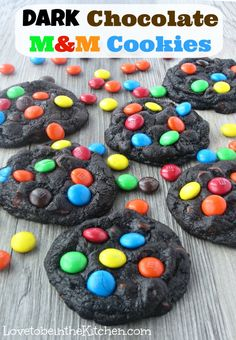 Dark Chocolate M&M Cookies- A beautiful cookie that is soft and chewy!